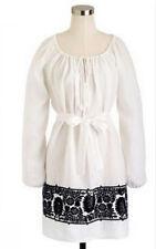 J. CREW Linen Embroidered Tunic Dress, white , M