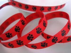 "25 yards Roll Mini Dog Paw 3/8"" Grosgrain Print Ribbon/craft R81-38-Select Color"