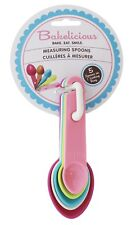 Bakelicious Measuring Spoons, Set of 5 Stackable with Lockable Ring *NEW*