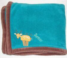 Zutano Kidsline Baby Blanket Into The Forest Deer Aqua Blue Brown Trim Fleece