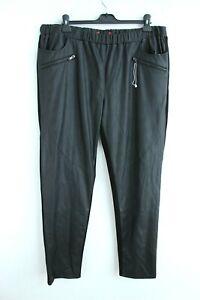 MaxMara NEW Black Faux Leather Front Elastic Waist Sweatpants Size XL 175/104Y
