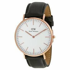 New Authentic Daniel Wellington 0107DW Mens Casual Watch Black/Rose Gold