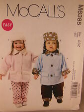 McCall's 6385 Easy pattern for infant or young child's jacket hat & pants S,M,L