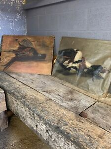 Antique 19th Century Oil Painting Game Duck Pheasant Hunting Still Life PAIR