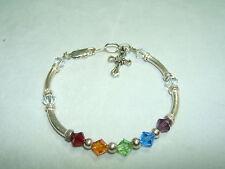 Sterling Silver Bead Bracelet With Dangling Sterling Cross!! 7- 7.25 Adj