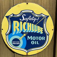 VINTAGE RICHLUBE PORCELAIN SIGN GAS PUMP PLATE PETROLIANA MOTOR OIL PENNSYLVANIA