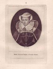 JOHN KAY Original Antique Etching. Mary Queen of Scotland, 1793