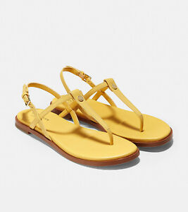 Cole Haan Size 5 Womens Shoe Flora Thong Sandal Optic Yellow Ankle Strap