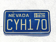 10-1979 NEVADA License Plate Tag #CYH170 nice used plate with expired sticker