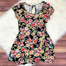 One Clothing Black Floral Romper Jumper Short Sleeve Women's Medium