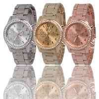 Geneva Bling Crystal Women Girl Unisex Stainless Steel Quartz Wrist Watch gift