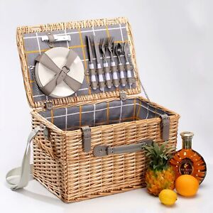 Willow Picnic Basket For 4 People Complete With Quality Access. & Carry strap
