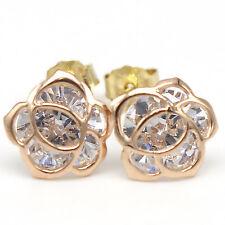 14k Solid Rose Gold Earrings 7927 Charming Beauty Flower Design Lovely