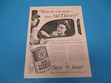 1936 Print Ad Texaco Motor Oil, Stays Full Longer, Furfural'd Film Does It PA014