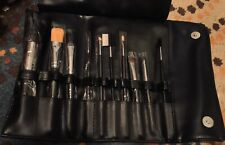 10pc. Professional Soft Cosmetic Makeup Brush Set Kit +Leather Pouch Button Case