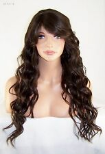 Dark Brown # 4 Full Wig Skin Top Heat Ok Iron Safe Side Bang Beach Wavy Long Lu