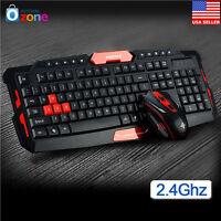 Multimedia 2.4GHz Wireless Gaming Keyboard & Mouse Bundle Set Desktop Laptop A+
