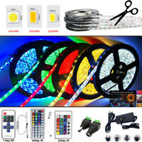 5M LED Strip Light SMD 3528 5050 5630 RGB/Waterproof/Remote/12V Power Supply