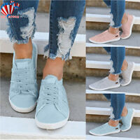 New Women's Ladies Canvas Shoes Pumps Slip On Summer Size Flat Lace Up Loafers