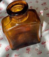 Vintage Bell-Ans Brown Amber Glass Apothecary Jar Antique Medicine Bottle
