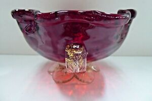 VINTAGE MURANO RED ART GLASS BOWL CRIMPED EDGE INFUSED GOLD FLAKE HANDLES & BASE