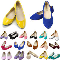 Women Slip on Flat Ballet Ballerina Pumps Loafer Ladies Plain Casual Dolly Shoes