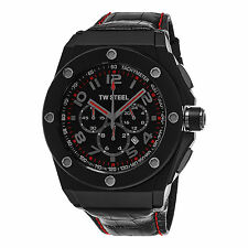TW Steel Men's CEO Black Dial Leather Strap Chronograph Quartz Watch CE4009