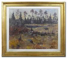 BERTIL WIDBRANT 1914-1988 / CRANES - Original Scandinavian Art Oil Painting