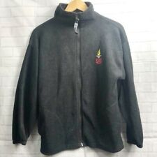 USA Olympic Black Fleece Full Zip Sweater Jacket Made in USA Unisex Adult Medium