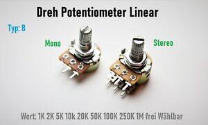 Poti Dreh Potentiometer linear 1K 2K 5K 10k 20K 50K 100K 250K 1M Ohm Mono Stereo