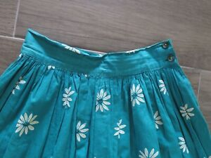 Vintage 50s Floral Novelty Print Flocked Daisy Cotton Full Skirt  W26