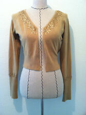 Candies camel tan crop cardigan sweater long sleeve sequin Retro 50's size L