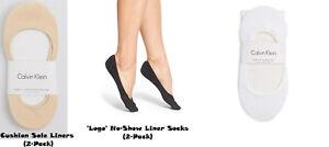 Calvin Klein Women's 2 pair cushion sole Liner or 'Logo' No Show Liner Socks