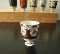 Japanese set Kutani Sake porcelain cups with original Kiri wood box