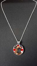 "Boxer Dog Union Jack Pendant On 18"" Silver Plated Fine Metal Chain Necklace N457"