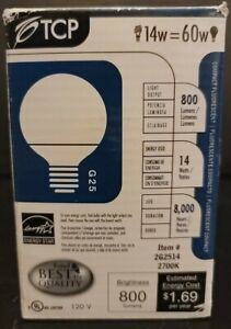 TCP 2G2514 14w=60w 120V 2700K G25 Compact Fluorescent Lamp Light Bulb
