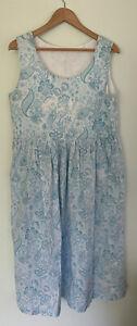 VINTAGE sheet handmade smock long maxi dress free size 8-16 boho hippy womens
