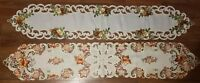 Autumn Fall Summer Tablecloth Table runner Doily Leaf Acorn Embroidery Lot of 2