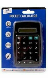 BLACK Just Stationery Adult Child Hand Held Calculator. Office, School or Home