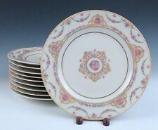 Set 10 Vintage Haviland Limoges DINNER PLATES French Porcelain Clio Pink Roses