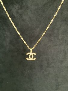 22K 22Ct GENUINE Gold Filled CZ Pendant & Necklace 45cms x2mm Wave Chain BOXED