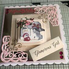 BIRTHDAY CARD, 3D HANDMADE JEWELRY, HATS & FLOWERS GLAMOROUS GIRL