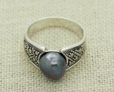 Sterling Silver 8mm Natural Black Pearl Marcasite Ring Size 7 (3.8g)