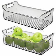mDesign Plastic Kitchen Pantry Cabinet Food Storage Bin, 2 Pack - Smoke Gray