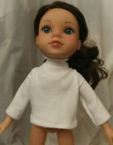 """TURTLE NECK TOP JERSEY WHITE  FIT WELLIE WISHERS DOLL & SIMILAR 14""""-15"""" DOLL NEW"""