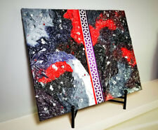 Red, Purple & Black Textured Tissue Paper & Metal Collage Mixed Media Art 16x20
