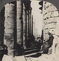 Egypt. The Colonnade of the Hypostyle Hall in the Temple of Karnak. Stereoview