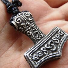 "Viking THOR'S HAMMER Mjolnir PEWTER Pendant Free 18""-30"" Cotton Necklace #1871"