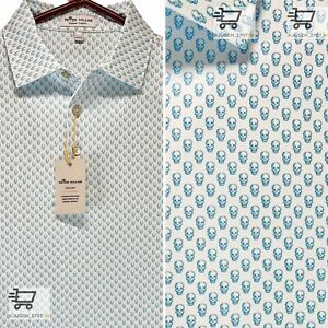 PETER MILLAR Summer Comfort Stretch Golf Polo Skull LARGE L⛳️ WHITE Swag
