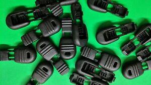 (10) Black Plastic Zipper Pulls Cord Lock Ends Paracord Tactical Tab Repair